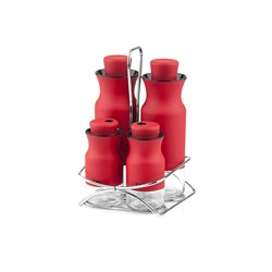 Набор для масла и специй TAC, 5 предметов, красный (TAC-7032  MIA SALAD DRESSING SET RED)