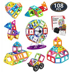 Jasonwell 108 Pcs Magnetic Tiles Building Blocks Set for Boys Girls