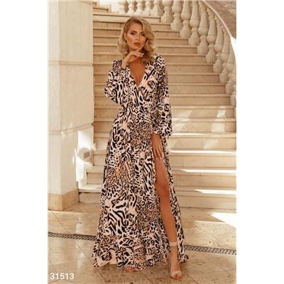 Платье Макси С Леопардовым Принтом