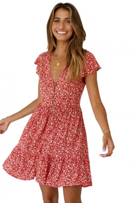 Красное Платье В Мелкий Цветочек