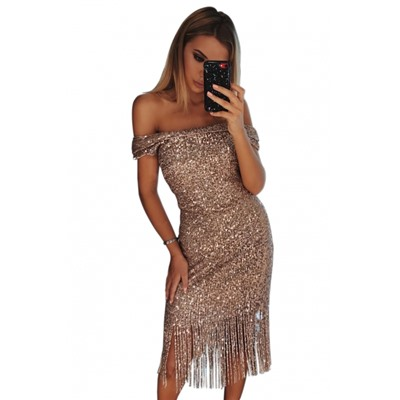 Платье С Пайетками С Открытыми Плечами