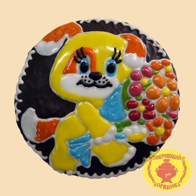 Тортик Собачка с букетом (700гр)